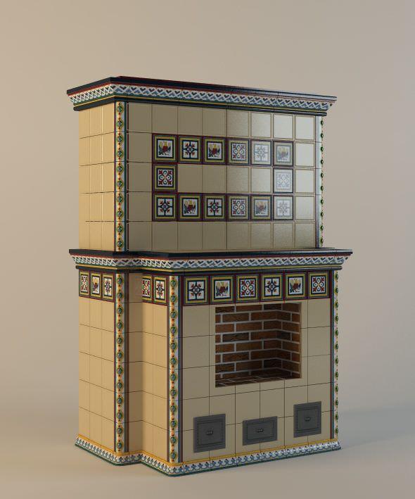 Бежевый камин с декоративным орнаментом