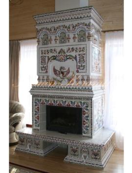 камин изразцовый с птицей феникс