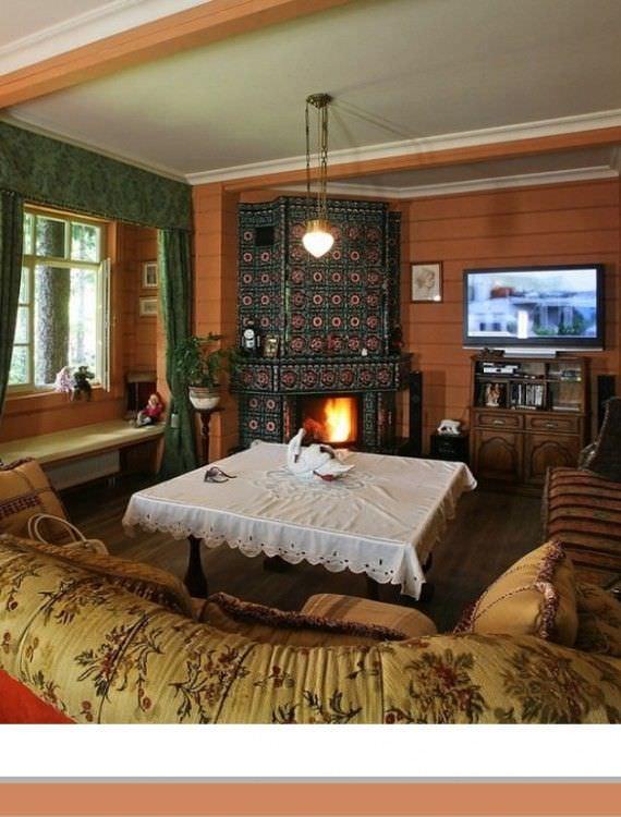 комната с камином и телевизором фото