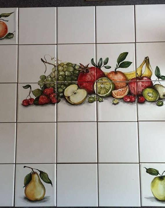 роспись плитки кухне