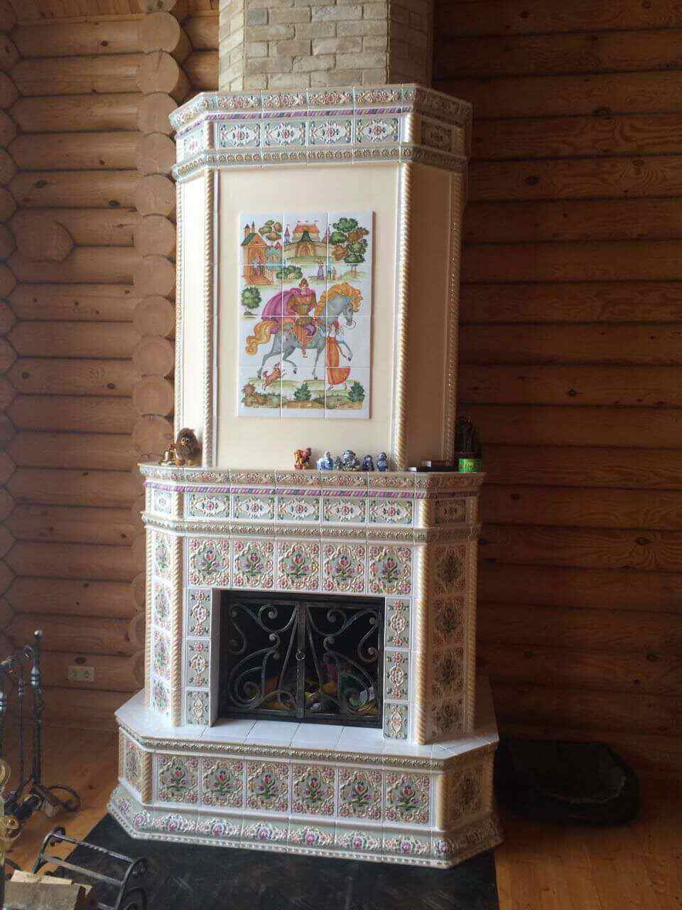 камин с панно Илья Муромец 2