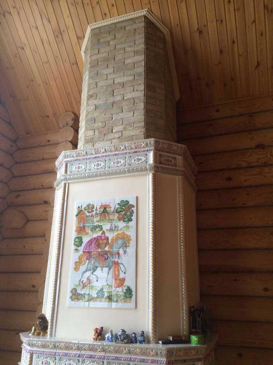 камин с панно Илья Муромец 3