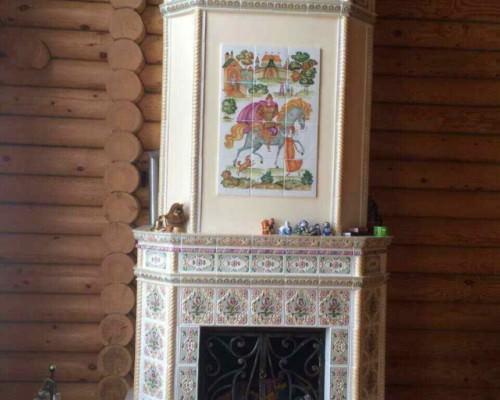 Камин с панно «Илья Муромец»