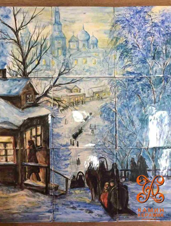 панно зимний пейзаж