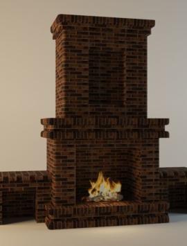 камины для дома из кирпича проекты