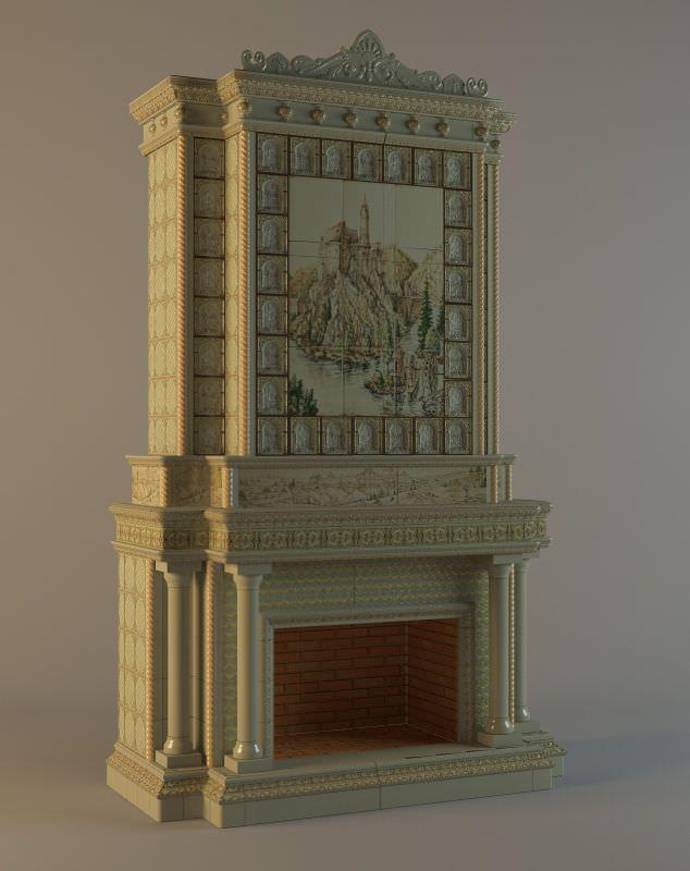 камины колоннами фото
