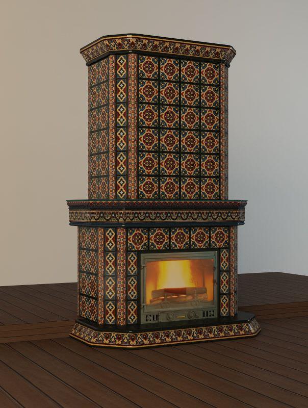 камин облицованный плиткой фото