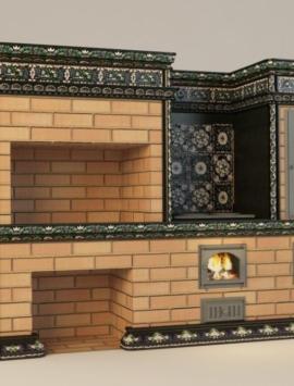 кухонный комплекс из кирпича