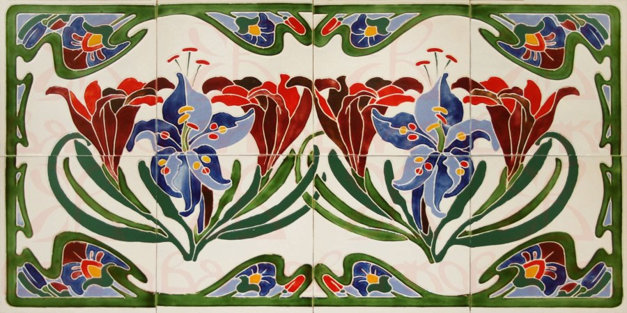 панно плитки цветы