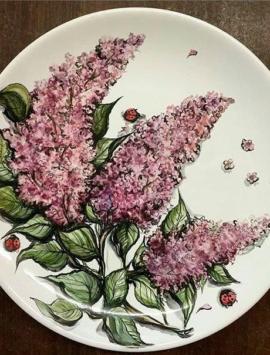 Тарелка с керамической росписью