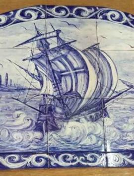 панно фасад ручная роспись керамика корабль картина