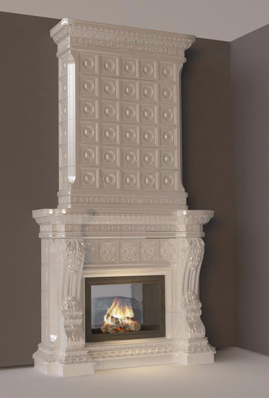 камин с колоннами классика интерьер