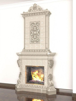 камин с короной интерьер дом очаг огонь