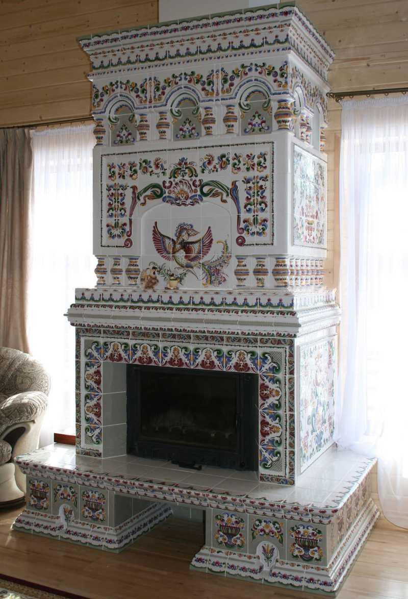 камины в интерьере деревянного дома