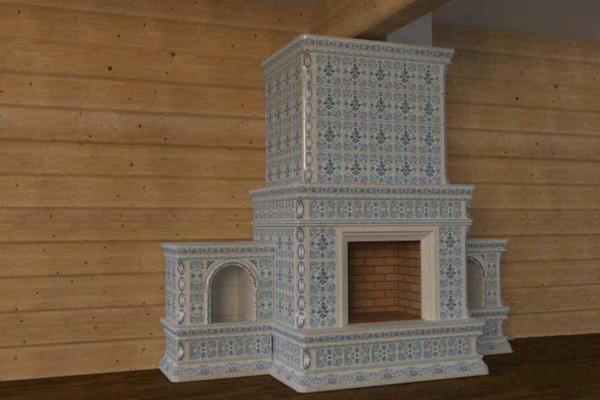 Большой камин, изразцы коллекции «Петровский»