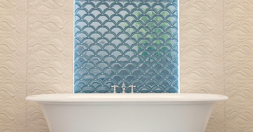 плитка чешуя в интерьере ванной