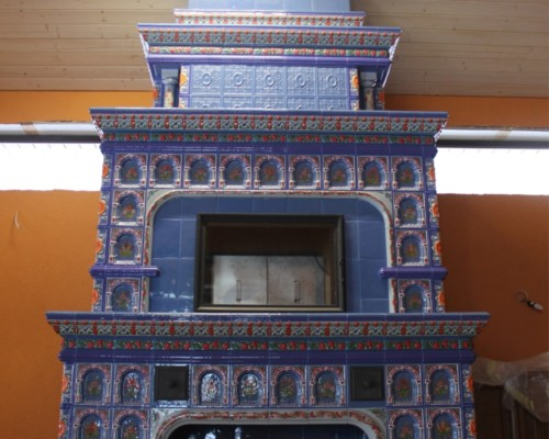 Мангальный комплекс серо-синий с фиолетовыми изразцами