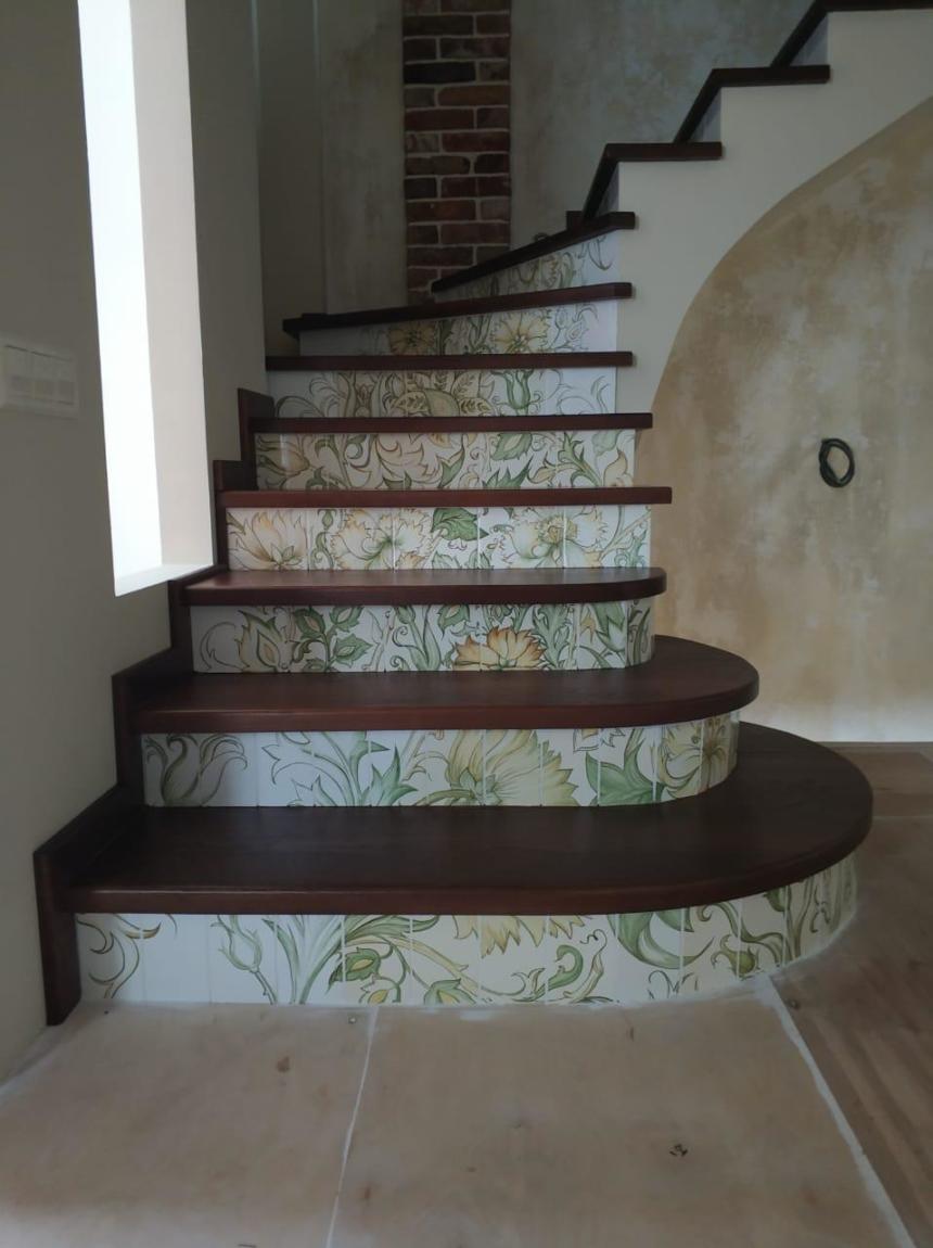 трава цветы лестница стиль