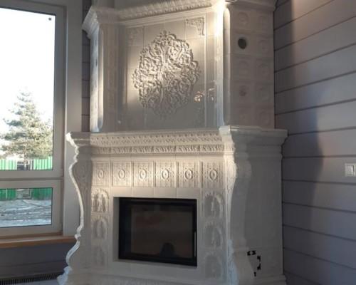 Угловой камин, комплект изразцов «Реставрация»